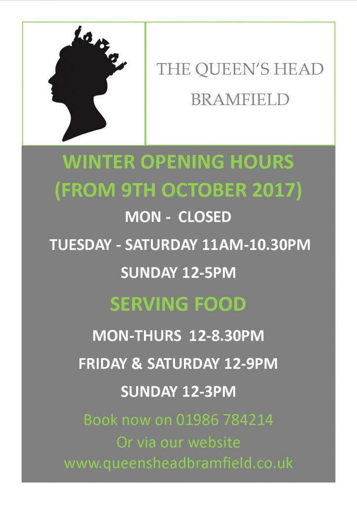 OPENING HOURS FROM 9 OCTOBER 2017